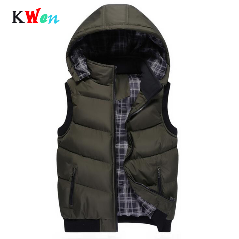 New Winter Hooded Vest Men Hat Detachable Warm Sleeveless Jackets Mens High Quality Casual Male Vest Coat Homme Plus Size M-5XL