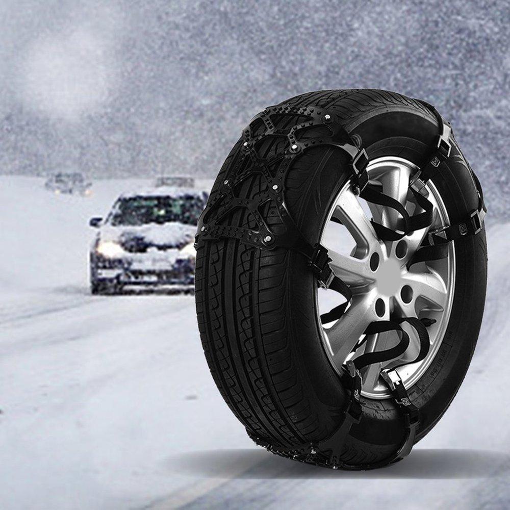 Evrensel araba zincirleri takım otomobil Anti-skid zincirleri 6 adet lastik kar zinciri TPU öküz Tendon dayanıklı zincirleri