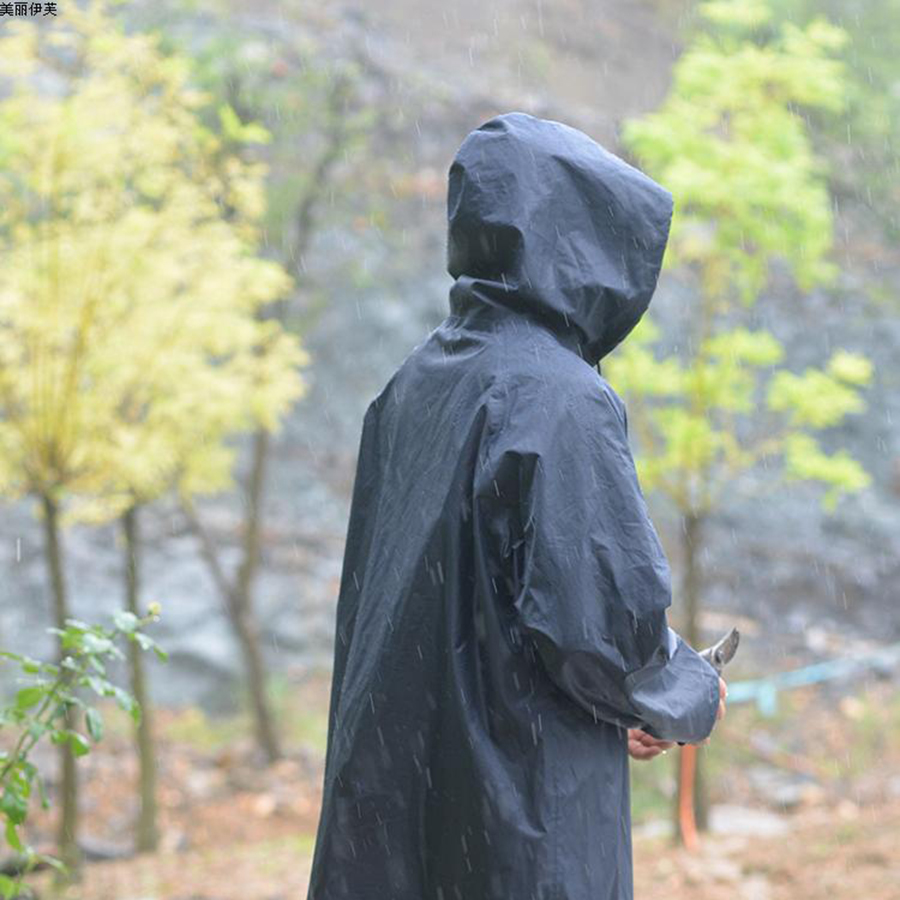 Abrigo de lluvia largo hombres Poncho negro al aire libre impermeable lluvia abrigo hombres con capucha chaqueta masculina Casaco impermeable rompevientos AYY020