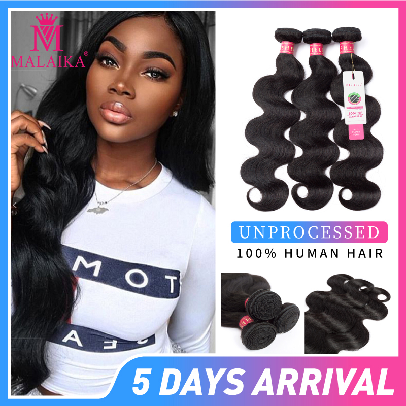 MALAIKA Brazilian Hair Bundles Body Wave Human Hair  Bundles Natural Color Hair Extensions Africa Free Shipping