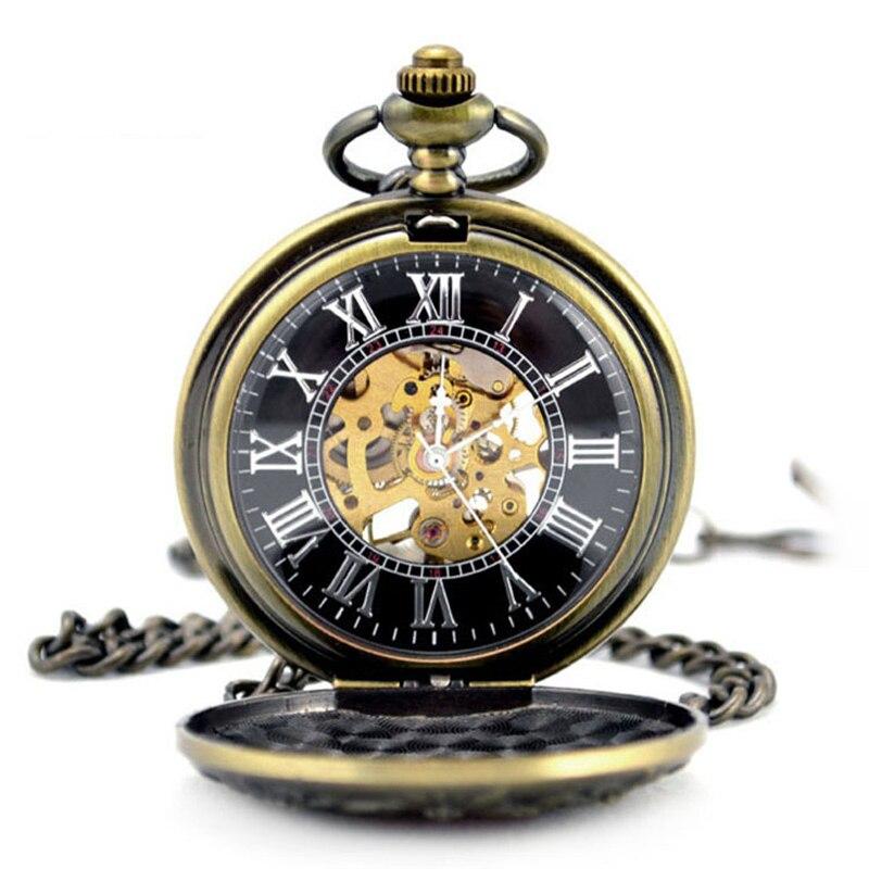 Vingtage Bronze Copper Tone Hand Wind Skeleton Mechanical Fob Pocket Watch Mens Pendant Watch Chain