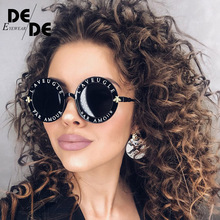 2019 Fashion Female Round English Letters Sunglasses Transparent Frame Tint Lens Trending Circle uv400