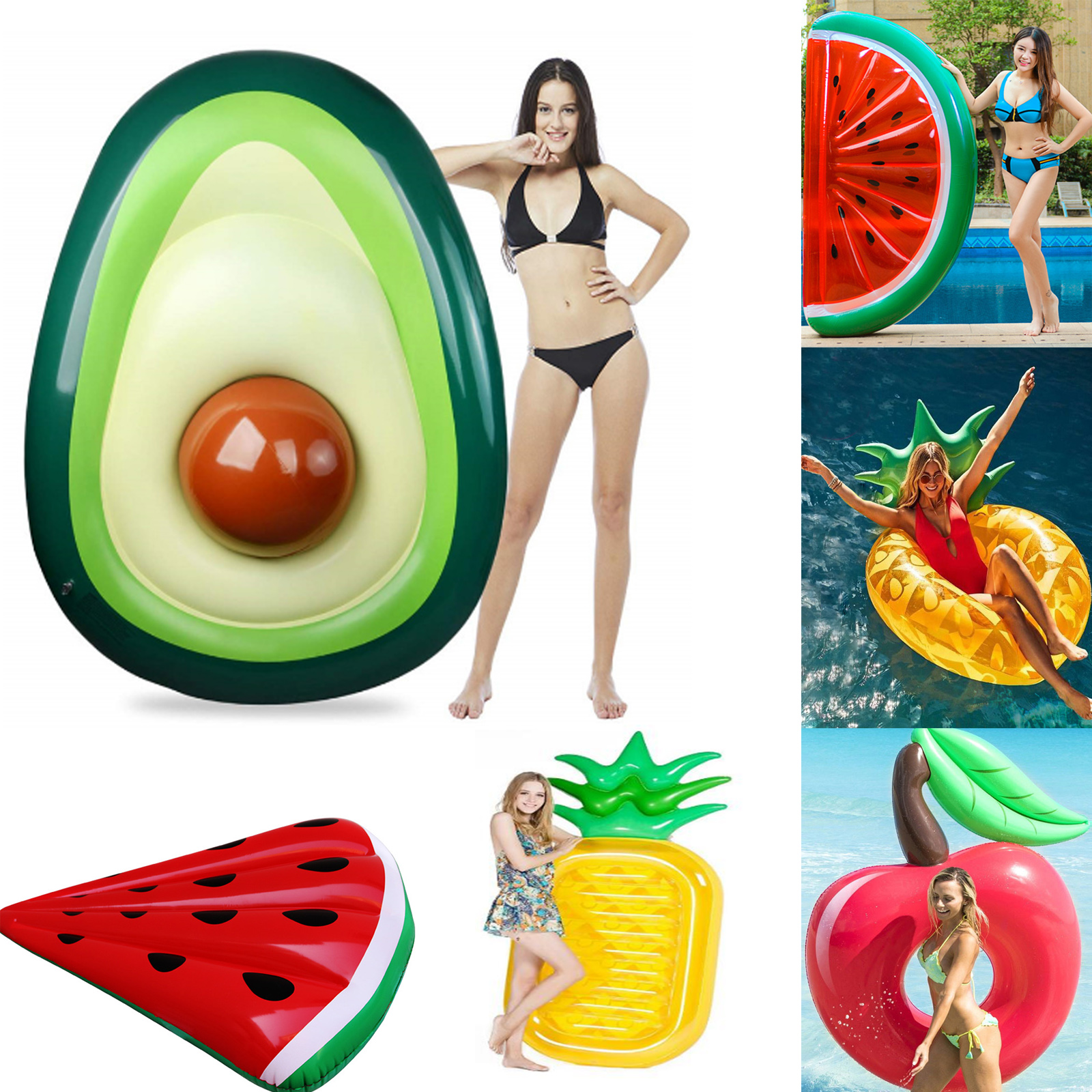 Inflatable Giant Fruit Avocado Pineapple Cherry Float For Adult Tube Circle Pool Party Toys Ride-On Air Mattress Swimming Ring
