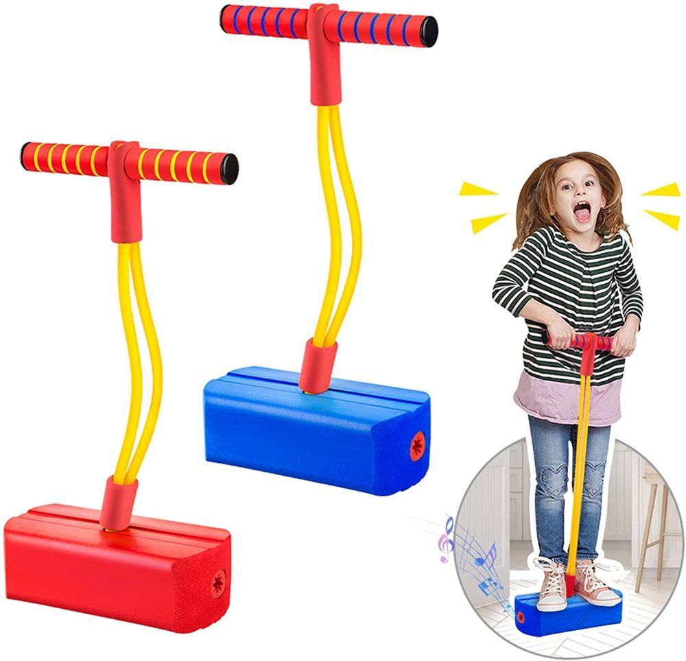 Jumper de bungee da vara do pogo da espuma para brinquedos exteriores das crianças, brinquedo de salto da espuma para as crianças da idade 3 e acima, varas do pogo dos sons estridentes