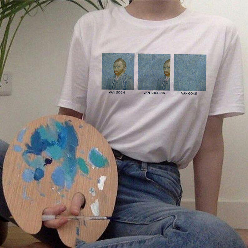 van gogh women t shirt new fashion art print tshirt <font><b>Meme</b></font> female clothes aesthetic t-shirt funny Tumblr Grunge grunge top tee image