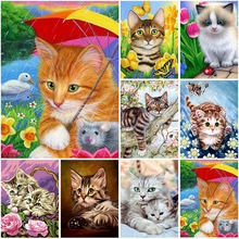 Diy cat 5d diamond painting full round rhinestones animal embroidery