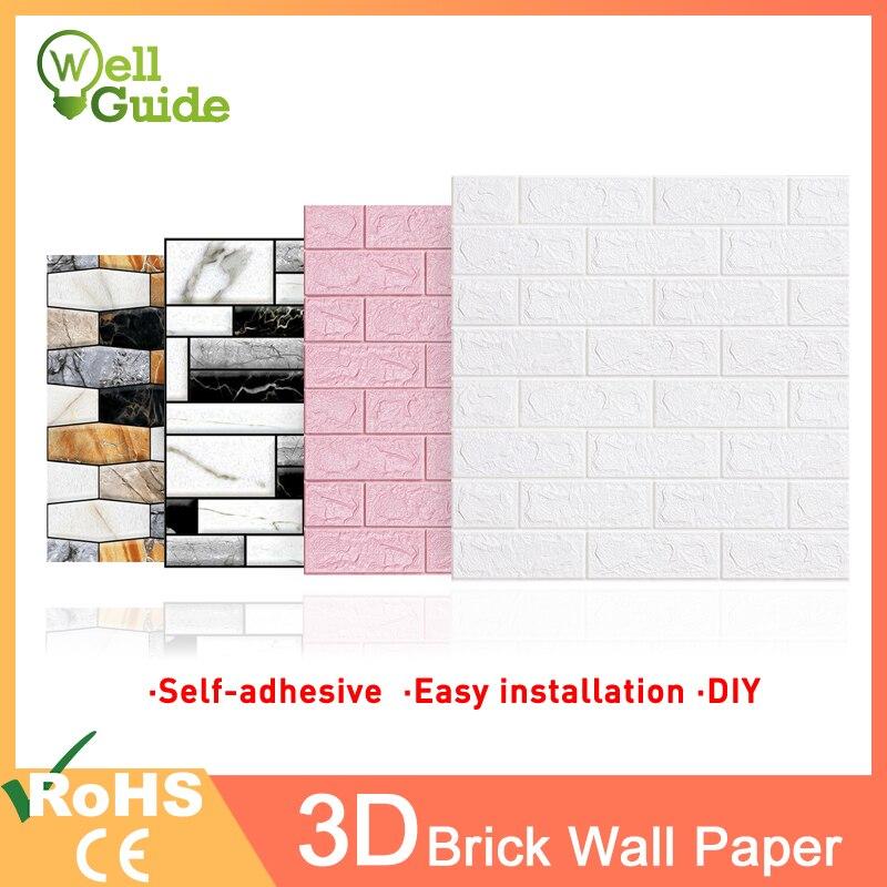 3D настенная бумага с имитацией кирпича и мрамора, водонепроницаемая настенная бумага, 3D декор для спальни, детской комнаты, гостиной, обои, б...