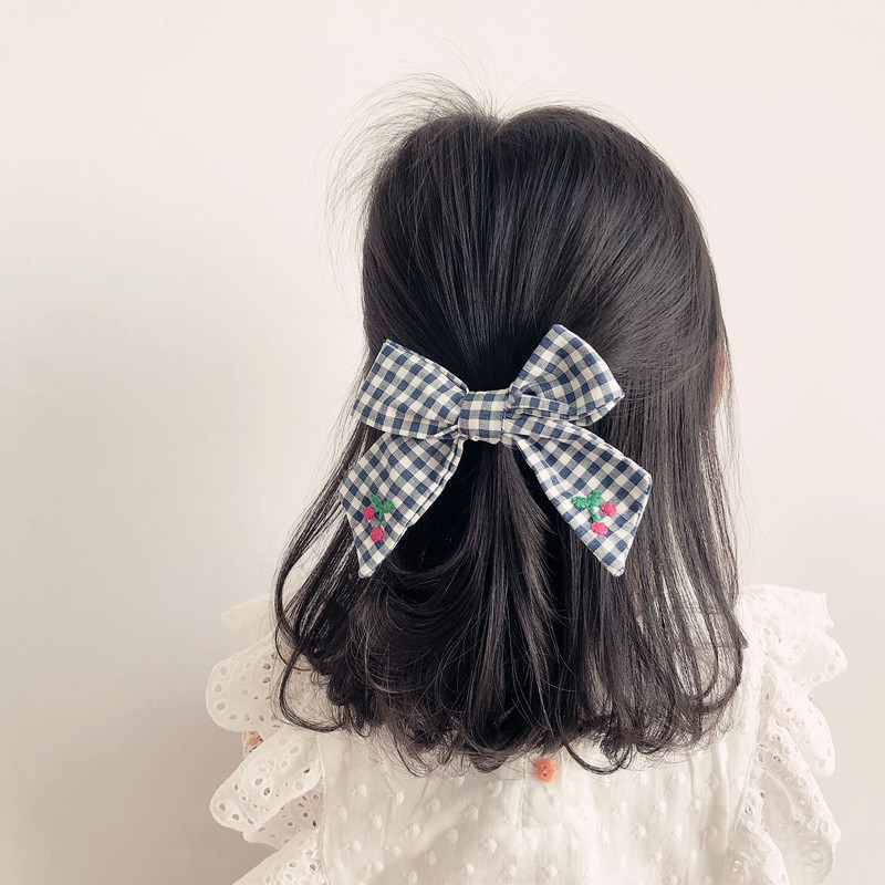 2020 Spring And Summer New Bow Hair Clip Children Embroidery Cherry Fruit Lattice Wild Hair Clip Hair Accessories