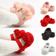 Newborn Baby Girl Flower Soft Princess Crib Shoes Leather Christening Prewalkers(China)