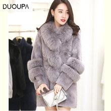 цена на 2019 Imitation Fox Fur Collar Whole Leather Rabbit Fur Faux Fur Coat Long Section Ladies Thin Plush Coat Fashion Slim Faux Fur