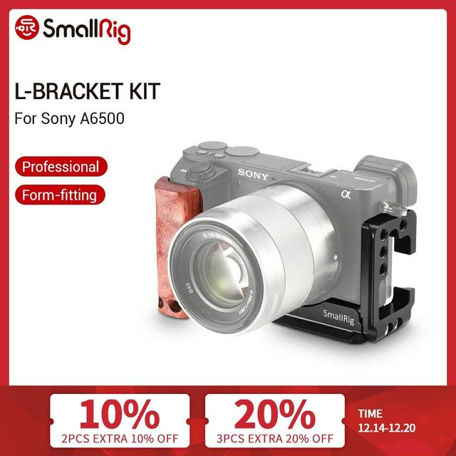 SmallRig A6500 L Bracket Cage Kit For Sony Alpha A6500 Side Plate + Arca Baseplate L Plate With Wooden Hand Grip  2074