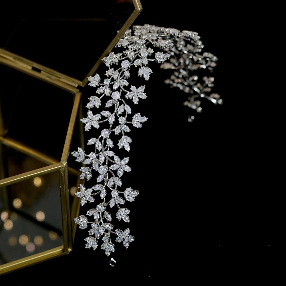 Diadema de corona nupcial de lujo, tocado de boda con corona de novia a la moda, accesorios para el cabello de Zirconia, tocado suave para mujer