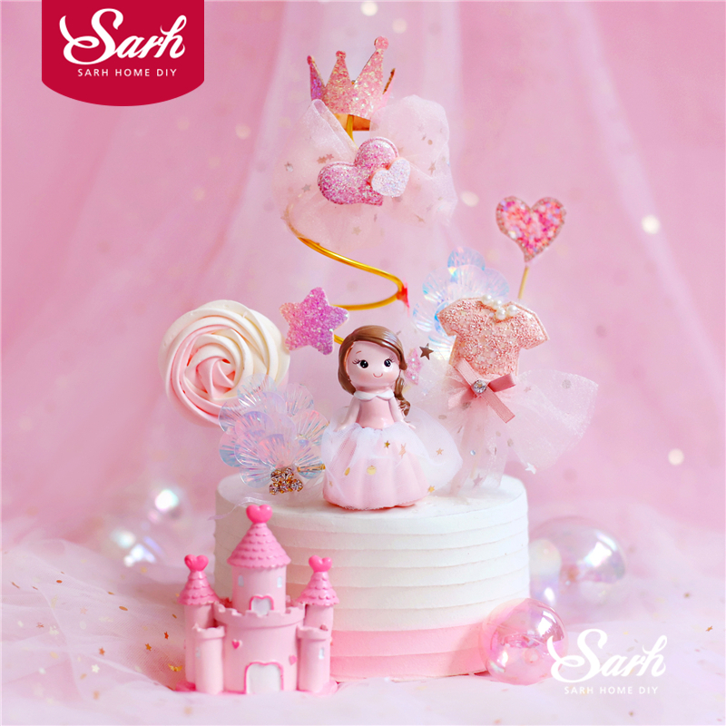 Pink Gauze Princess Decoration Spiral Yarn Star Happy Birthday Cake Topper Wedding Party Supplies Bride Kid Baking Love Gifts|Cake Decorating Supplies|   - title=