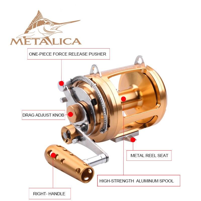 Металлические Троллинг-колеса 30W-II/50W-II/80W-II 8 + 1BB, барабанные катушки, литые большие модели, полностью металлические, глубоководная железная лодка, Рыболовная катушка 2