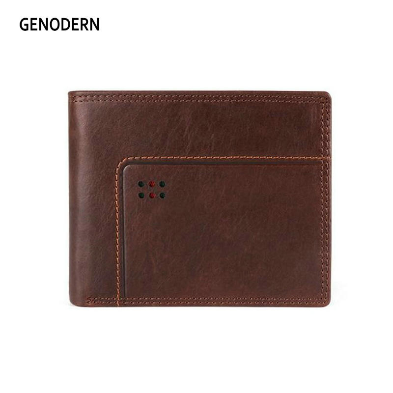 GENODERN New Rfid Bifold Mens Wallets Businees Male Purse With Coin Pocket Portomonee Card Holder Photo Holder Short Wallet