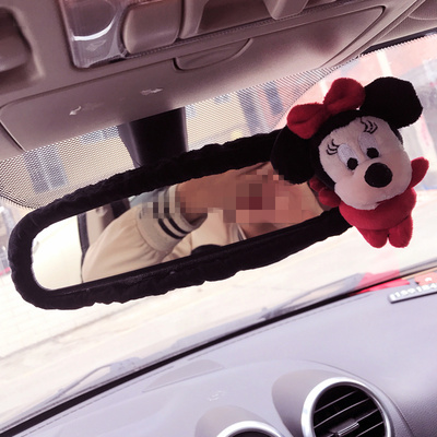 Rearview mirror cover New cute bear rear view mirror set cute cartoon mirror interior accessories