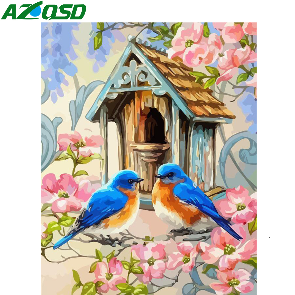 AZQSD Unframe DIY Paint By Numbers On Canvas Flower Dewcor For Home Oil Painting By Numbers Set Birds Handpainted Gift