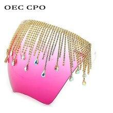 OEC CPO-Gafas de sol con protección facial para mujer y hombre, lentes de protección de gran tamaño con diamantes de imitación