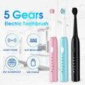 Электрическая зубная щетка Sonic  5 зубных щеток  USB зарядное устройство  высокое качество  смарт-чип  зубная щетка для отбеливания  лучший пода...