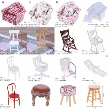 New 1:12 Dollhouse Miniature Furniture White Wooden Rocking Chair Stool Sofa Hemp Rope Seat For  Dolls House Accessories Toy