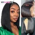 Brasilianische Gerade Haar 13x4 Spitze Front Menschliches Haar Perücken 150 Dichte 4x4 Spitze Schließung Perücke Für schwarz Frauen Remy Haar MYLCOKME HAAR