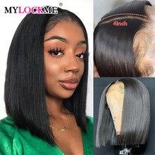 Perruque Lace Closure Wig naturelle brésilienne Remy – MYLCOKME, cheveux lisses, 4x4, 13x4, densité 150, pour femmes africaines