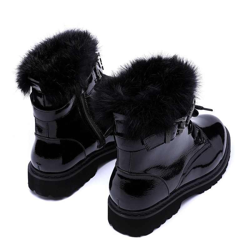 JCHQD gerçek saç üstün kaliteli kadın çizmeler Lace Up Martin çizmeler kadın ayak bileği kürk çizmeler kış sıcak kadın ayakkabı avrupa boyutu