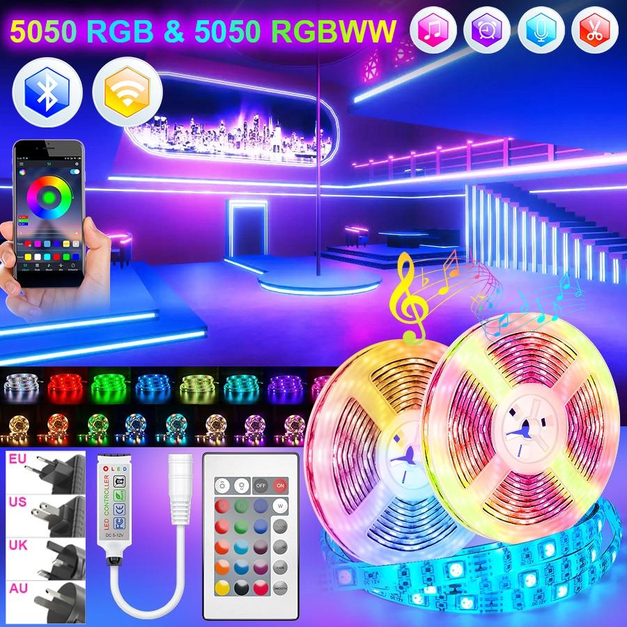 Led Strips Lights Bluetooth 5050 RGB Warm White RGBWW Led lights Flexible Ribbon 5M-30M Tape Diode Phone Wifi Alexa Control Set