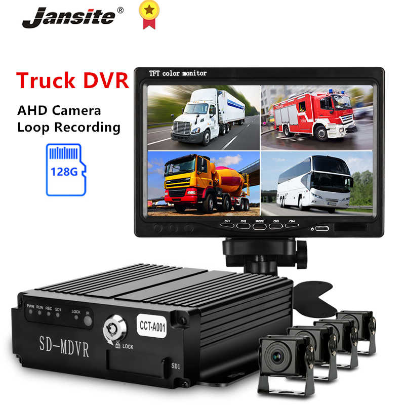 Jansite 7 Inch Vrachtwagen Dvr Griffier Rijden Recorder Backup Camera Ahd Nachtzicht Rear View Monitor Loop Recording 12-24V