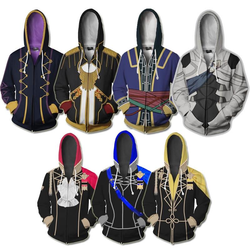 Hot Game Fire Emblem Hoodie Anime Cospaly Costume 3D Printed Sweatshirt Robin Corrin Zip Up Hoodies Three Houses Sweatshirts