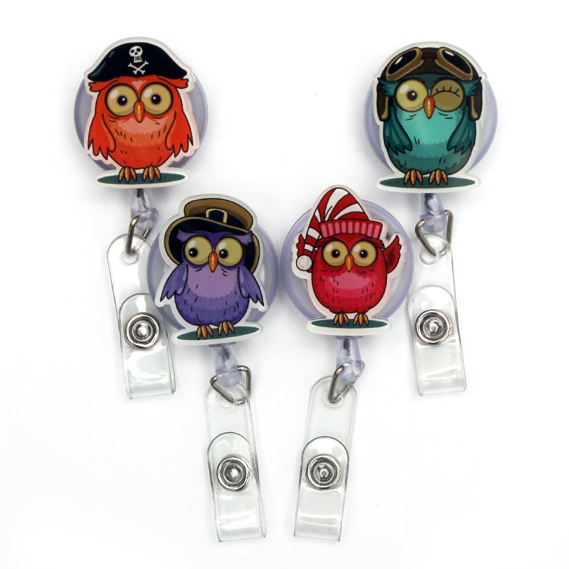 4 Style The Color Owl Retractable Badge Holder Reel Exhibition Enfermera Students Girls Boy Name Card Hospital Office Chest Card