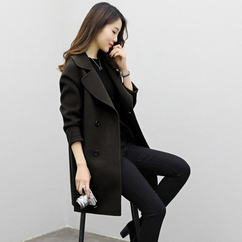 2019 Winter Coat Women Plus Size Korean Fashion Belt Womens Coats Slim Artificial Wool Outerwear Warm Winter Jacket For Female 10