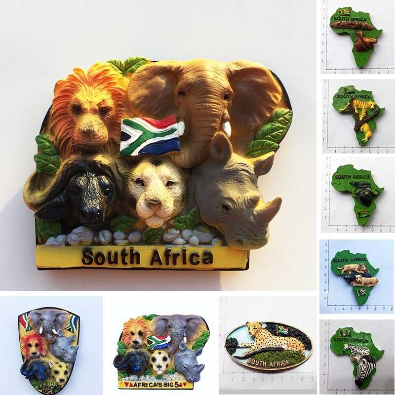 Republika południowej afryki 3D zwierząt pamiątki turystyczne lodówka magnes na lodówkę afryki duże pięć żywicy malowane rzemiosło pomysł na prezent