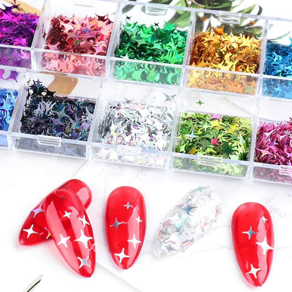 Laser Star Glitter Nails Spangles Silver Black Nail Paillette Mixed Colorful Flakes Manicure UV Gel Nail Decor (4)