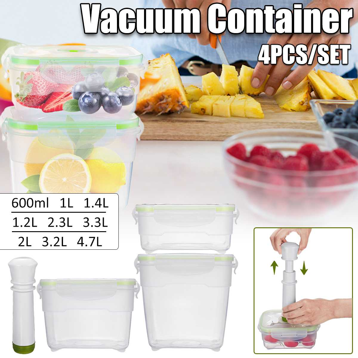 3 Size Vacuum Container Vacuum Pump Large Capacity Vacuum Preservation Box For Refrigerator Kitchen Microwave Oven PP Containers
