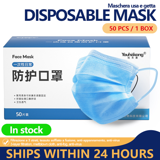 Mask 50pcs Disposable 3 Ply Face Mask Mouth guard Cover Flu Facial Dust Template Filter korea Blue Masks Drop Ship