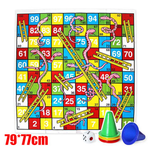 Kids Ludo Snakes and Ladders Giant Board Game Jigsaw Puzzle Floor Mat Activite Creative Pour Enfant Giochi Bambini 77*79cm(China)