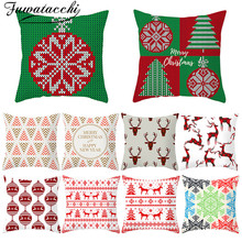 Fuwatacchi Christmas Style Cushion Cover Red Elk Pattern Throw Pillow Cover Decorative Pillow Cover Sofa Pillow Case Pillowcase