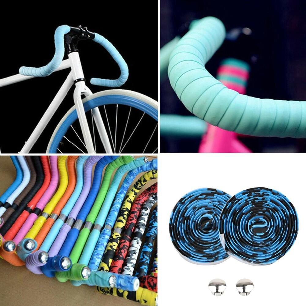 6 Colors Rubber Foam Bicycle Handlebar Tape Cork Grips Cycling Road Bike Wrap Tapes And Two Bar Plugs