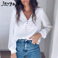 jzygesb summer Fashion Button Up Open shirt lace Shirt Women Black and White Lady Long Sleeve Female straight office lady Shirts