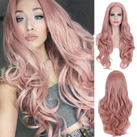 Pinkshow Synthetic Lace Front Wig Pink Purple Wig Natural Hairline Heat Resistant Fiber Glueless Wigs For Women