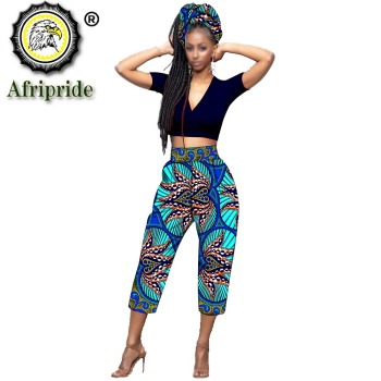 2020 African Calf-Length pants with scarf africa clothes for woman bazin riche Appliques design straight ankara print  S1921003 mid calf flower print straight womens pants