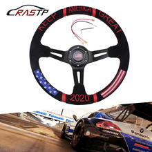 цена на RASTP-14 inch 2020 Racing Steering Wheels Red Embroidery Black Suede Leather Deep Dish Drift Sport Steering Wheel RS-STW022