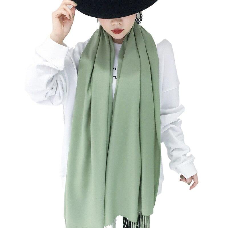 Купить мягкие шарфы для женщин осенние новые однотонные с кисточками