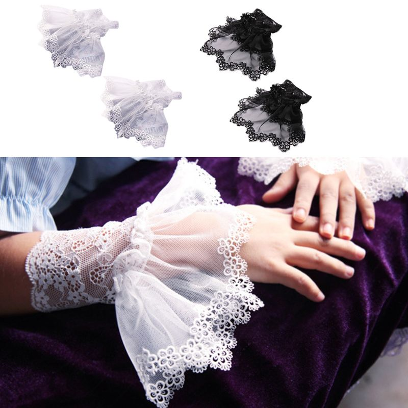 Korean Womens Autumn Fake Sleeves Embroidery Floral Lace Detachable Wrist Cuffs