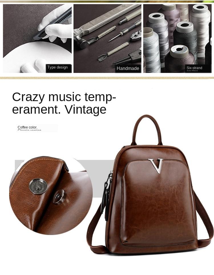 de óleo mochila feminina retro mochila de couro mochila de luxo