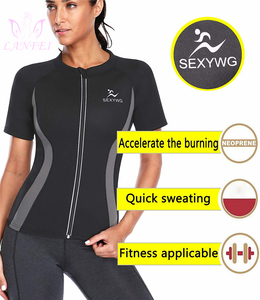 Image 3 - LANFEI Camiseta de neopreno moldeadora de cuerpo para mujer, Top deportivo para perder peso, entrenador de cintura, camisetas deportivas adelgazantes