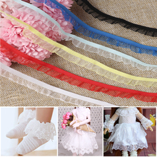 Ribbon Dolls Clothing Sequence Dress Lace Pleated Multi-Color for DIY Sewing Guipure