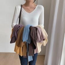 White T-Shirt V-Neck Woman Tees Long-Sleeve Knitted Autumn Korean One-Size Basic Elasticity