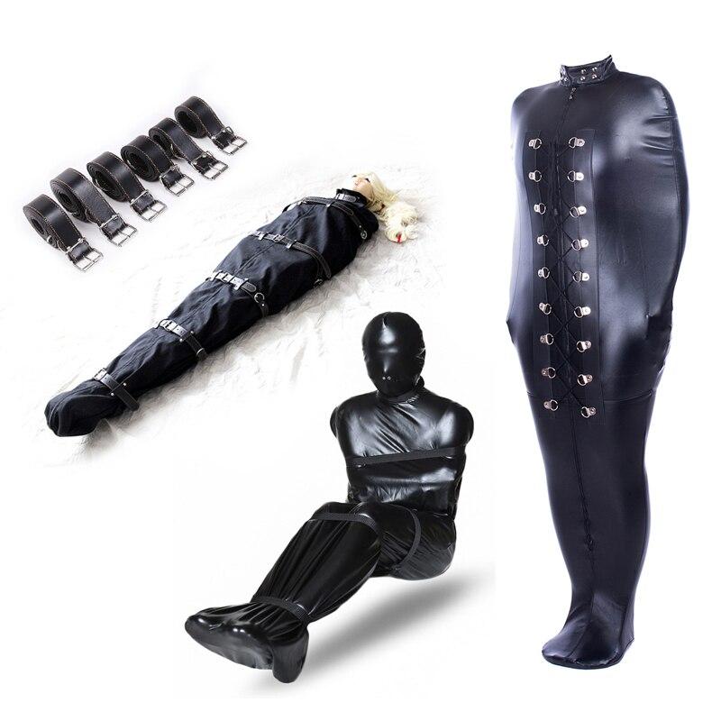 BDSM Sex Binding Mermaid Mummy Body Bondage Bag Sleeping Bag Sack Leather Straight Jacket Tights Female Erotic Costume Sex Toys